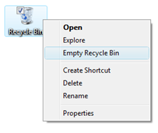 Recycle Bin right-click