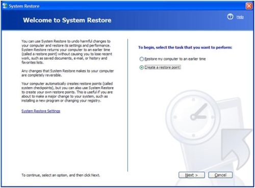 System Restore XP